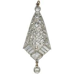 Art Deco Clear Crystal Rhodium Dangling Pendant