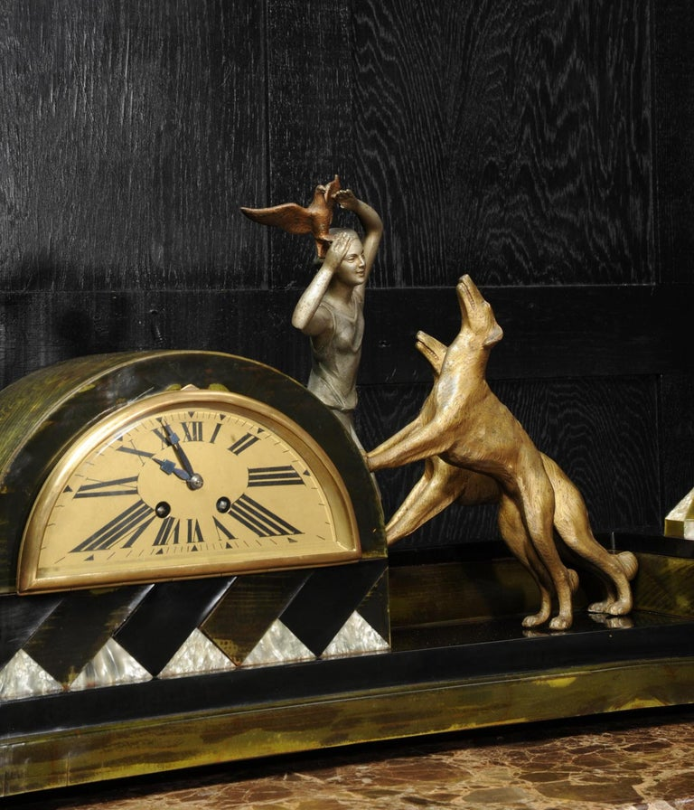 Art Deco Clock, Girl, Bird and Dogs by Pierre Sega and Japy Freres For Sale 5