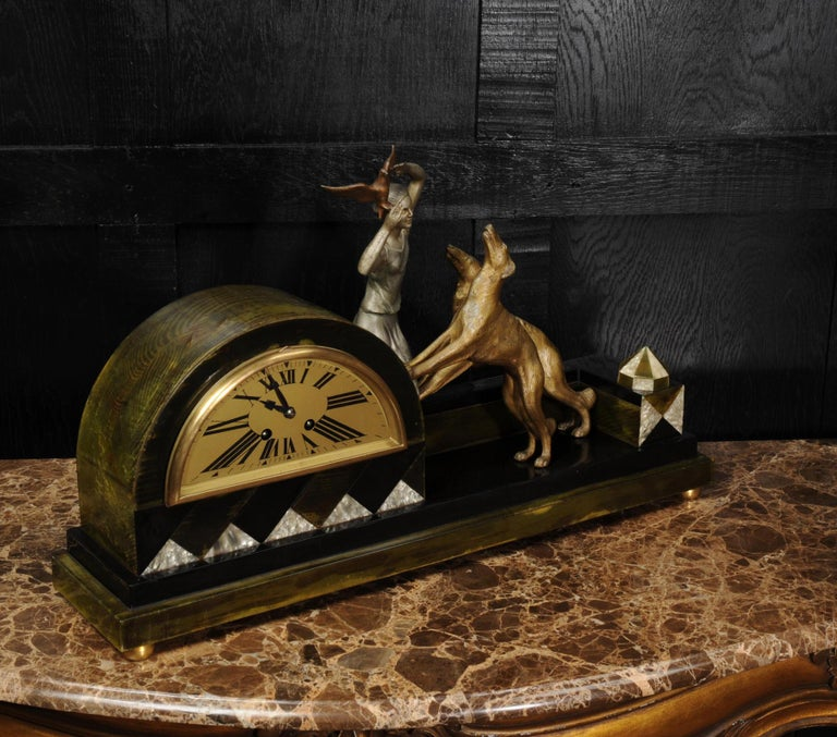 Art Deco Clock, Girl, Bird and Dogs by Pierre Sega and Japy Freres For Sale 6