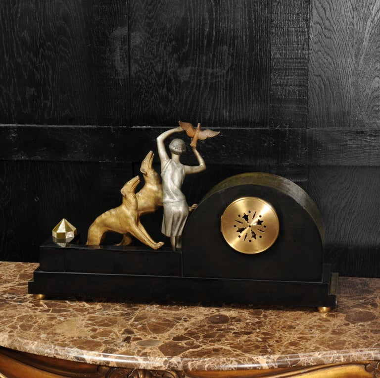 Art Deco Clock, Girl, Bird and Dogs by Pierre Sega and Japy Freres For Sale 8