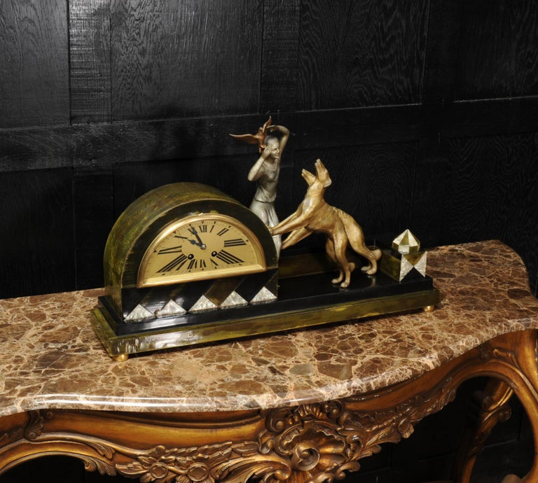 French Art Deco Clock, Girl, Bird and Dogs by Pierre Sega and Japy Freres For Sale