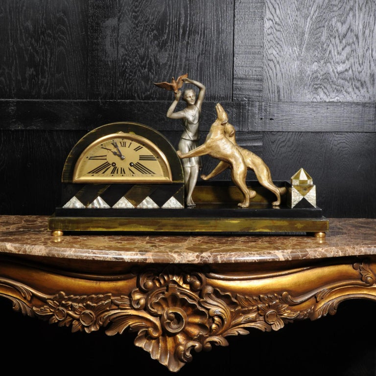 Art Deco Clock, Girl, Bird and Dogs by Pierre Sega and Japy Freres In Good Condition For Sale In Belper, Derbyshire