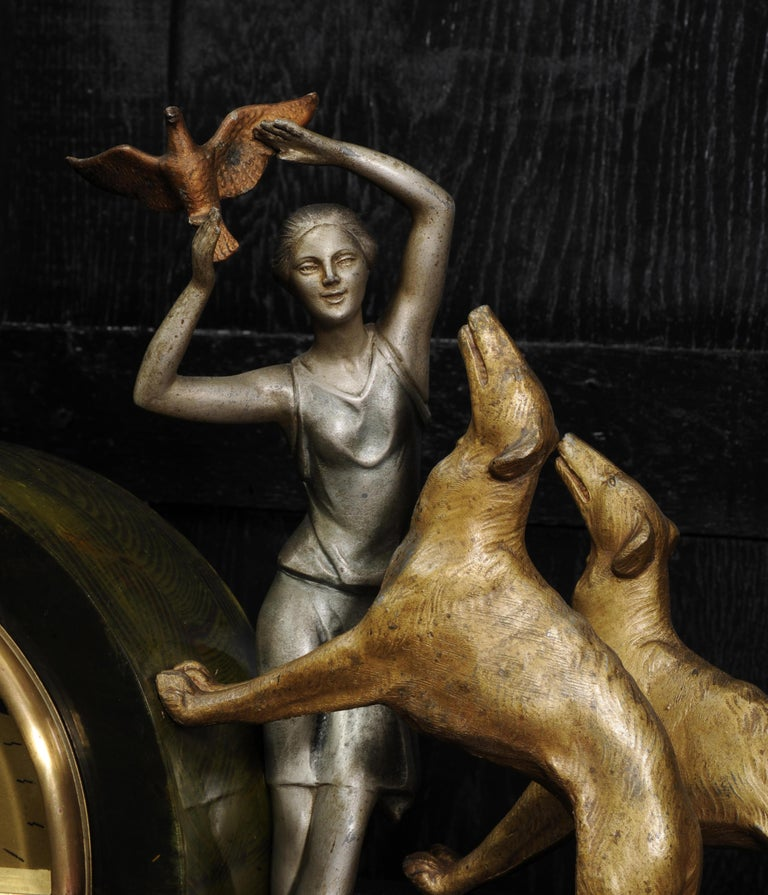 Metal Art Deco Clock, Girl, Bird and Dogs by Pierre Sega and Japy Freres For Sale