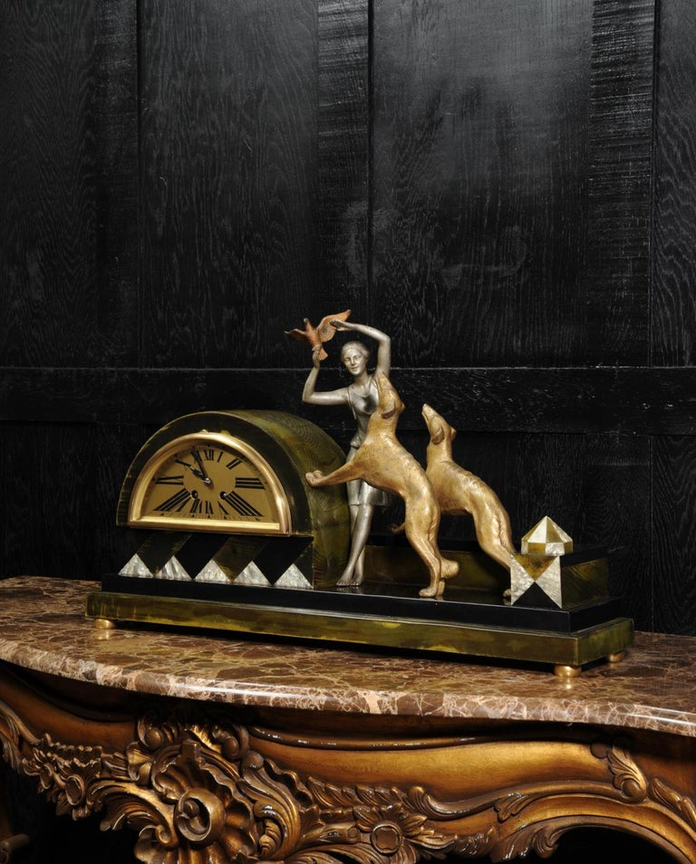 Art Deco Clock, Girl, Bird and Dogs by Pierre Sega and Japy Freres For Sale 1