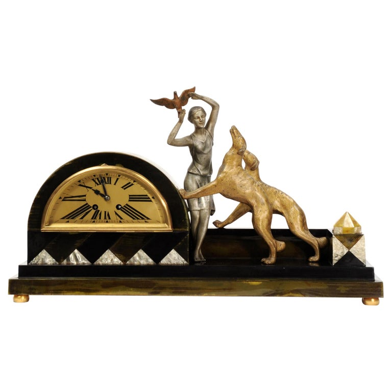 Art Deco Clock, Girl, Bird and Dogs by Pierre Sega and Japy Freres For Sale