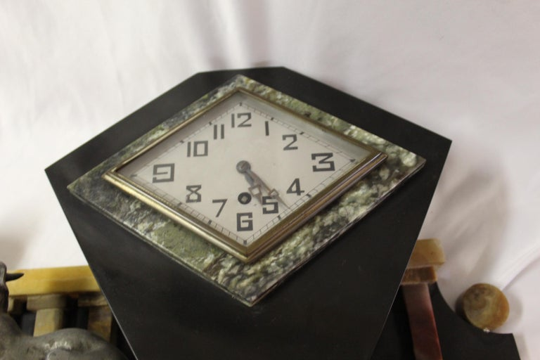 Art Deco Clock Girl with Dog Large Marble Base For Sale 8