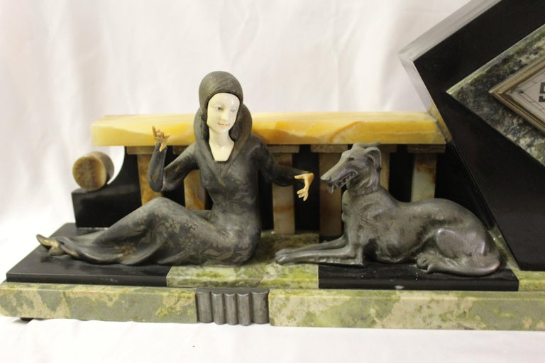French Art Deco Clock Girl with Dog Large Marble Base For Sale