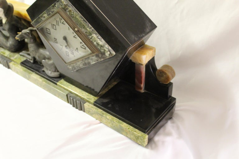 Art Deco Clock Girl with Dog Large Marble Base In Good Condition For Sale In Los Angeles, CA