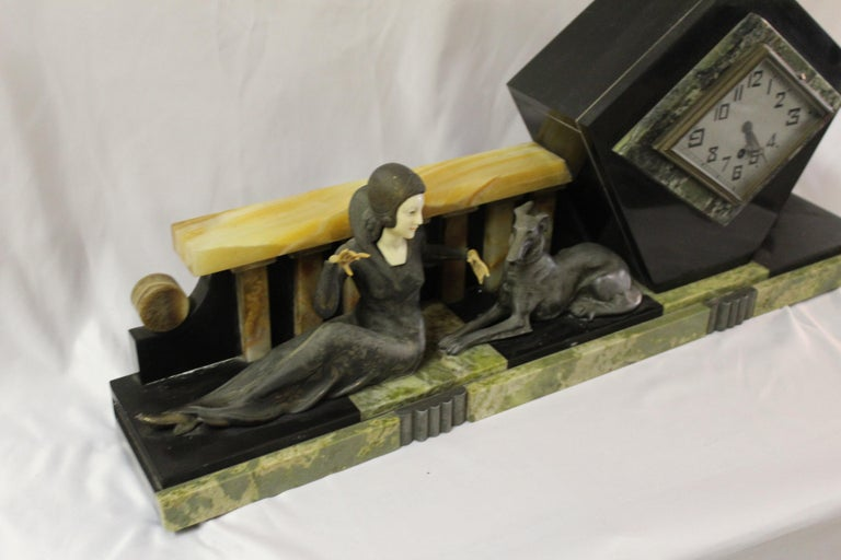 Early 20th Century Art Deco Clock Girl with Dog Large Marble Base For Sale