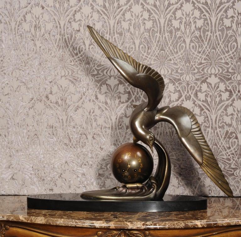Art Deco Clock Seagull and Wave, Irénée Rochard For Sale 4