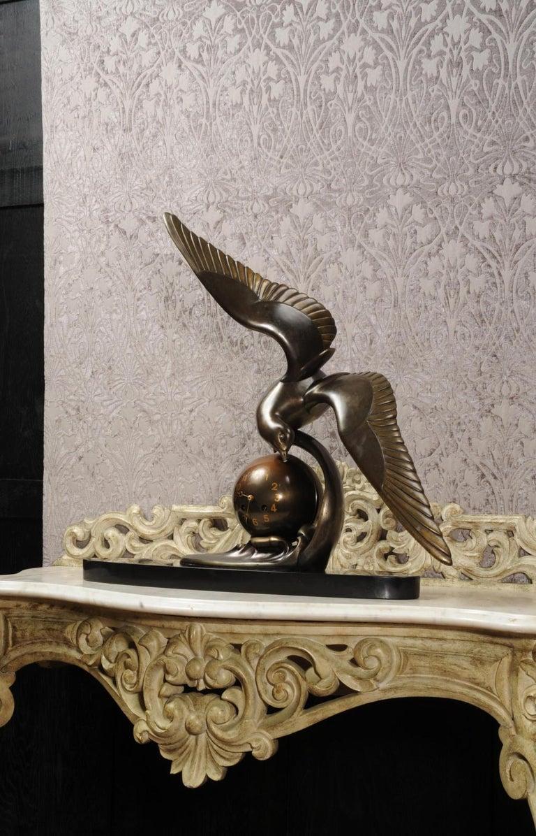 Art Deco Clock Seagull and Wave, Irénée Rochard For Sale 8