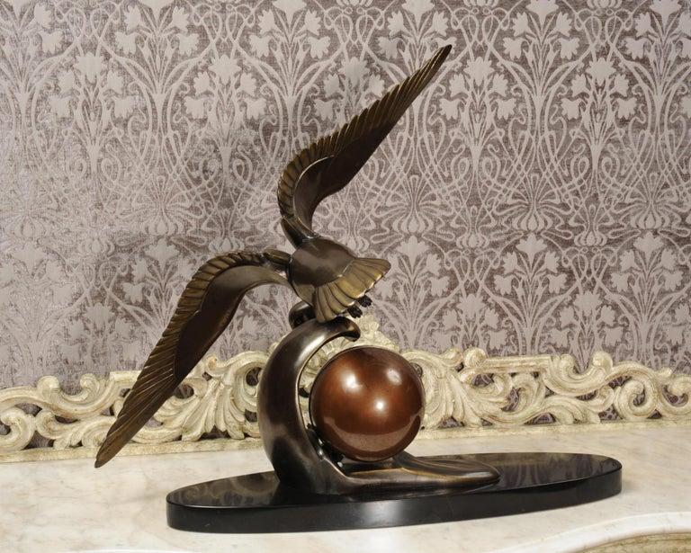 Art Deco Clock Seagull and Wave, Irénée Rochard For Sale 11