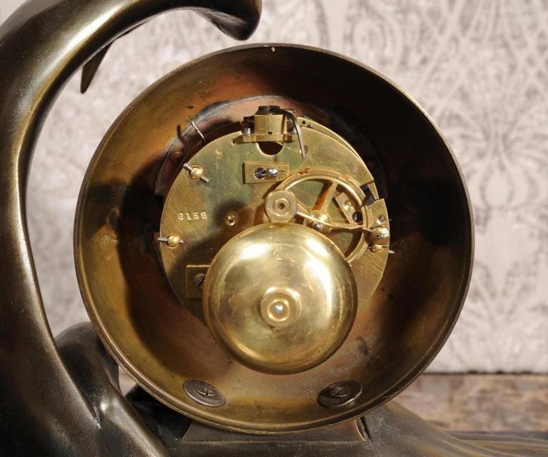 Art Deco Clock Seagull and Wave, Irénée Rochard For Sale 12