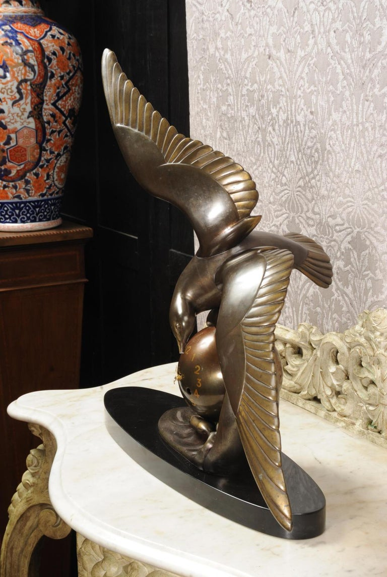 Metal Art Deco Clock Seagull and Wave, Irénée Rochard For Sale