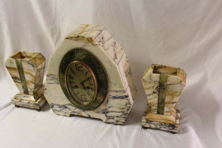 Art Deco Clock Set Marble and Green Onyx In Good Condition For Sale In Los Angeles, CA