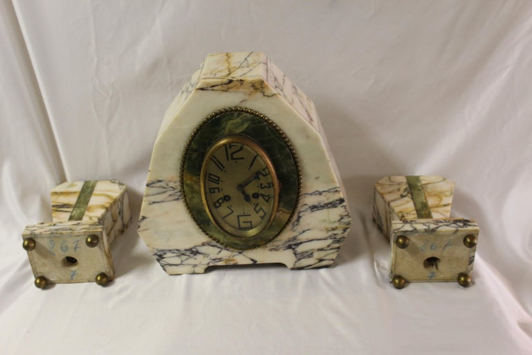 Art Deco Clock Set Marble and Green Onyx For Sale 1