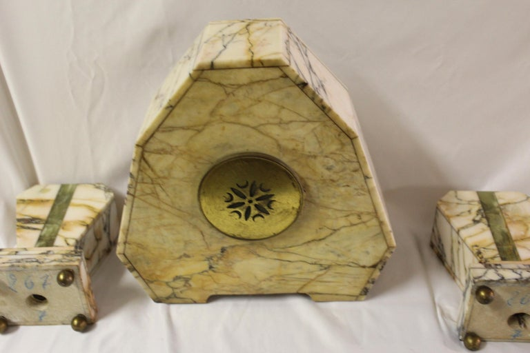 Art Deco Clock Set Marble and Green Onyx For Sale 3