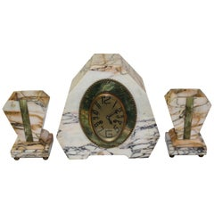 Art Deco Clock Set Marble and Green Onyx