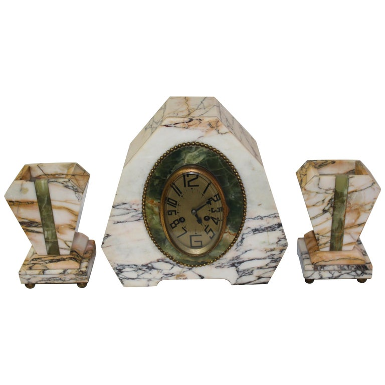 Art Deco Clock Set Marble and Green Onyx For Sale