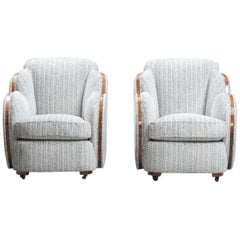 Art Deco Cloud Back Armchairs by Harry and Lou Epstein One Pair