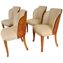 Four Art Deco Cloud Back Chairs in Birdseye Maple by Epstein British, circa 1930