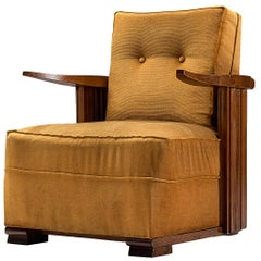 Art Deco Club Chair in Ocre Velvet and Oak