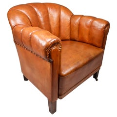 Art Deco Club Chair in Patinated Cognac Leather, Praque, 1930s