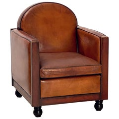 Art Deco Club Chair of Leather and Wood from Holland