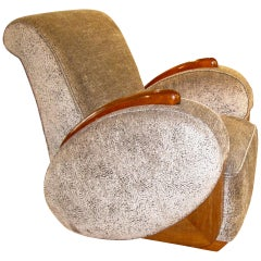 Art Deco Club Chair with Oval Armrests and Grey Velvet, France, circa 1925