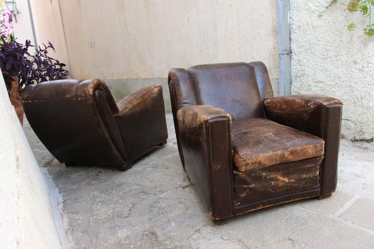 Italian Art Deco Club Chairs Attributed to Poltrona Frau For Sale