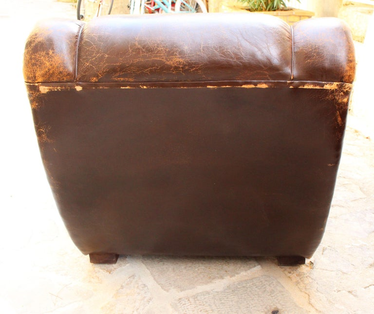 Art Deco Club Chairs Attributed to Poltrona Frau In Distressed Condition For Sale In Los Angeles, CA