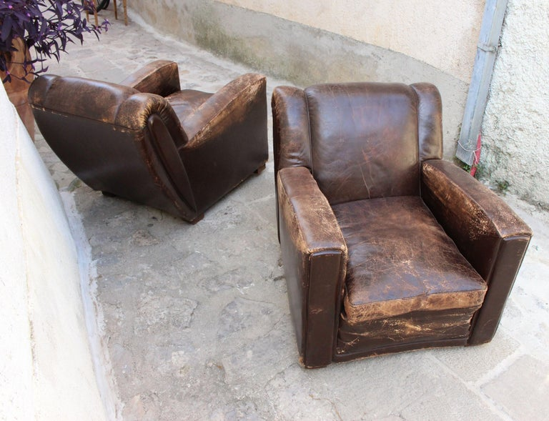Leather Art Deco Club Chairs Attributed to Poltrona Frau For Sale
