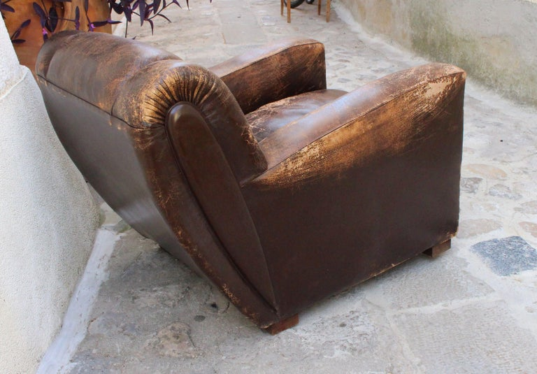 Art Deco Club Chairs Attributed to Poltrona Frau For Sale 1