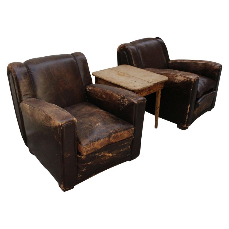 Art Deco Club Chairs Attributed to Poltrona Frau For Sale