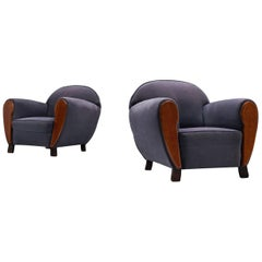 Art Deco Club Chairs in Blue and Mahogany