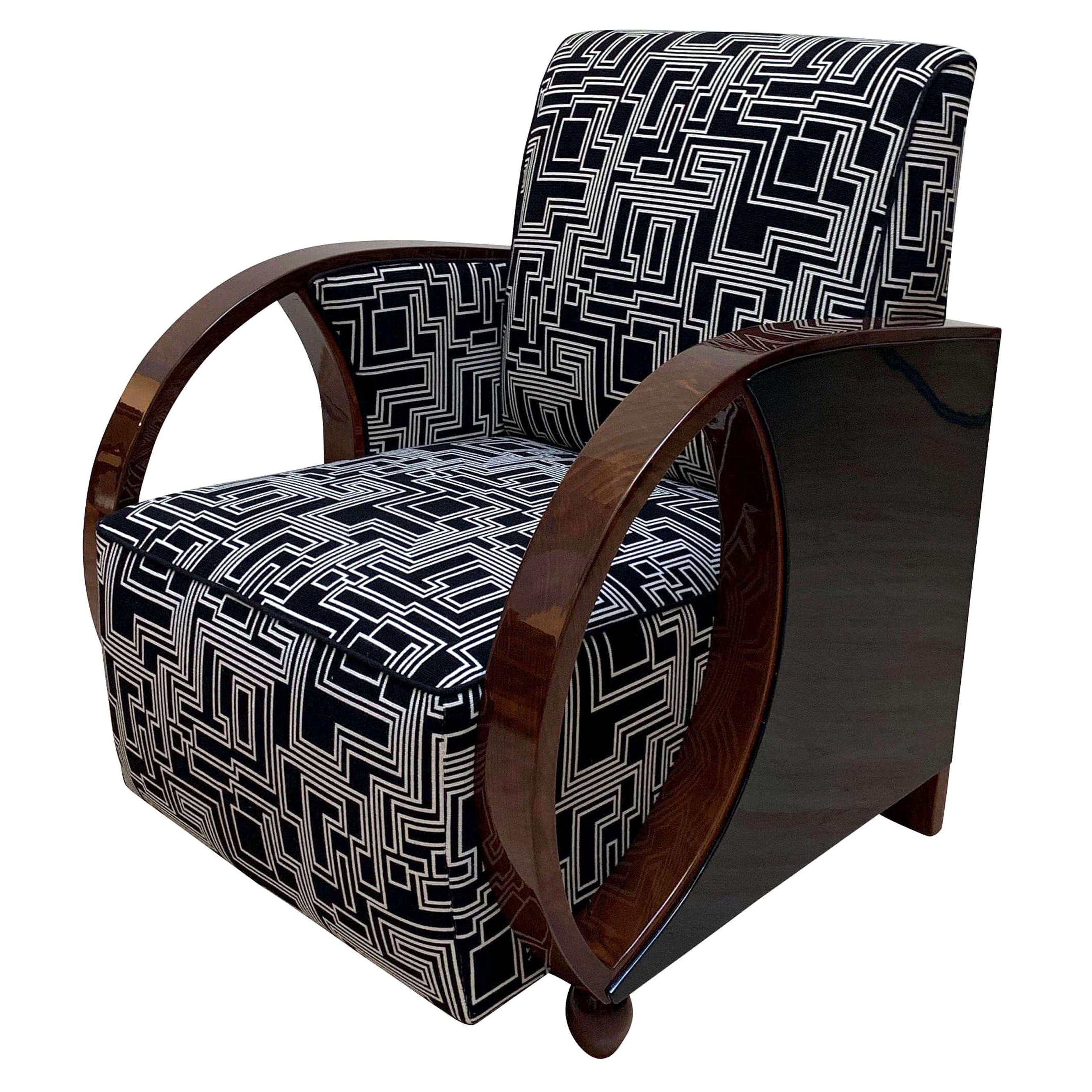 Art Deco Club Chairs, Walnut and Black Lacquer, France, circa 1930