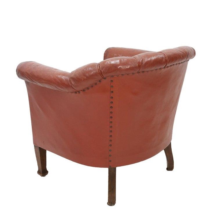 Leather Art Deco Club Lounge Chair For Sale