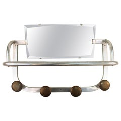 Art Deco Coat and Hat Rack in Aluminium with Mirror