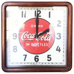Art Deco Coca-Cola Wood Frame Wall Clock by Selected Devices