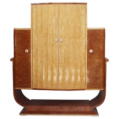Art Deco Cocktail Cabinet by Harry & Lou Epstein Burr Walnut and Birdseye Maple