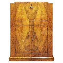 Art Deco Cocktail Cabinet in Walnut Veneers