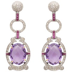 Art Deco Cocktail Purple Amethyst, Diamond and Tourmaline Earrings