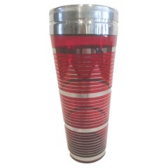 Art Deco Cocktail Shaker, Ruby Red Glass with Silver Bands and Chrome Lid
