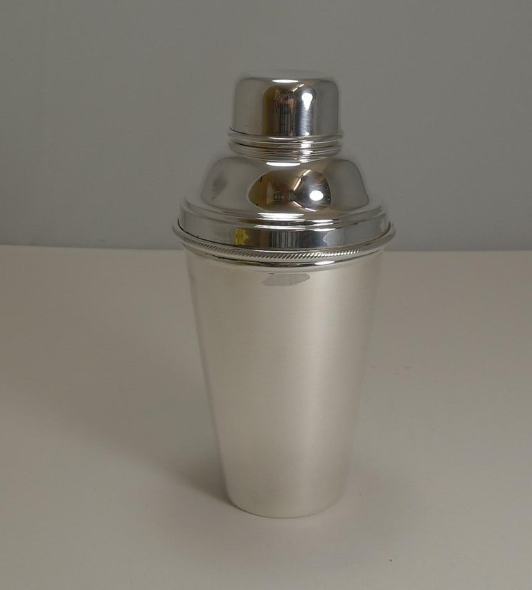 A lovely cocktail shaker by the top-notch London silversmiths,