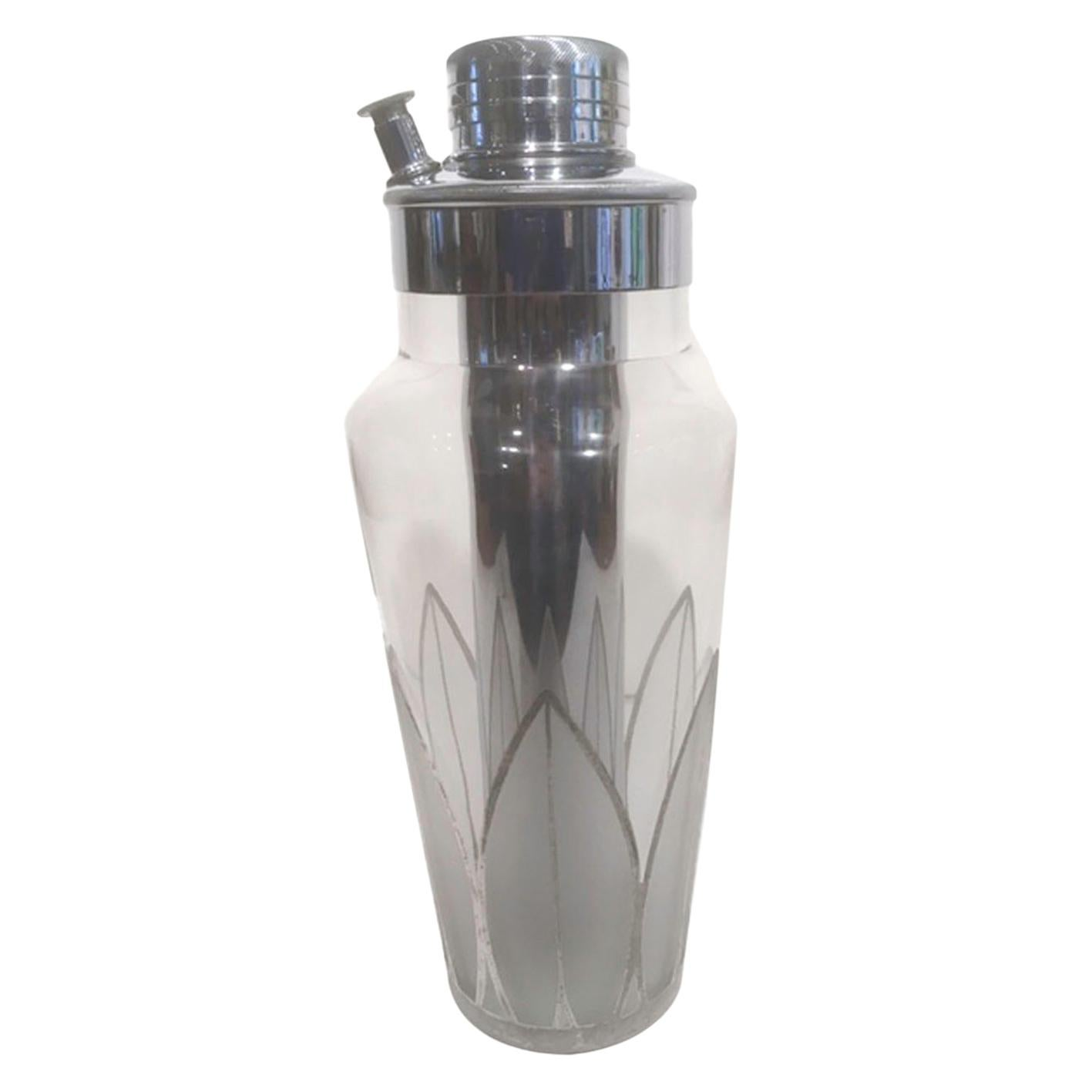 Art Deco Cocktail Shaker with Silver Overlay and Frosted Palmette Design