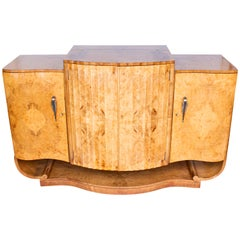 Art Deco Cocktail Sideboard by Harry & Lou Epstein Bleached Burr Walnut, 1930s