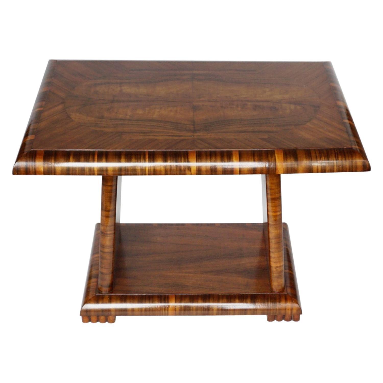 Art Deco Coffee/Occasional Table Burr Walnut & Macassar Ebony English Circa 1930