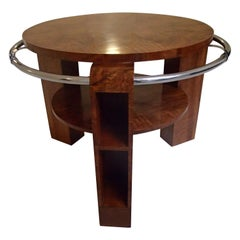 Art Deco Coffee or Sofa Table Walnut with Chrome Ring and Shelf's in the Legs