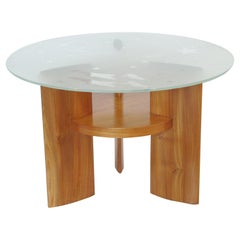 Art Deco Coffee Table by Saint Gobain Glass-Top with Aviation Decor