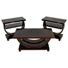 Art Deco Coffee Table and Two End Tables, Set of Three
